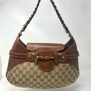 GUCCI Beige/Brown GG Canvas Horsebit Shoulder Bag